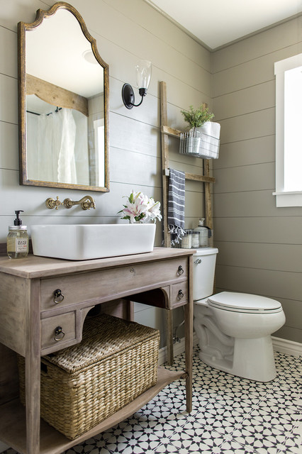claw foot bathtub small farmhouse master cement tile floor and black floor claw - Modern Farmhouse Bathroom