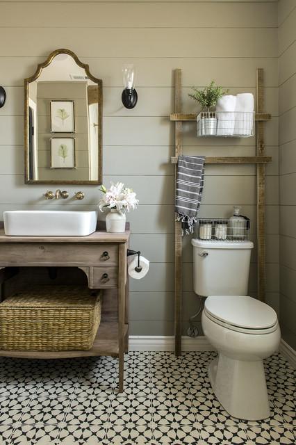 Long Nights and Skill Produce a Modern Farmhouse Bath in 6 Weeks