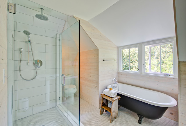 Farmhouse White Tile And Subway Tile Bathroom Idea In Portland With A  Two Piece Toilet