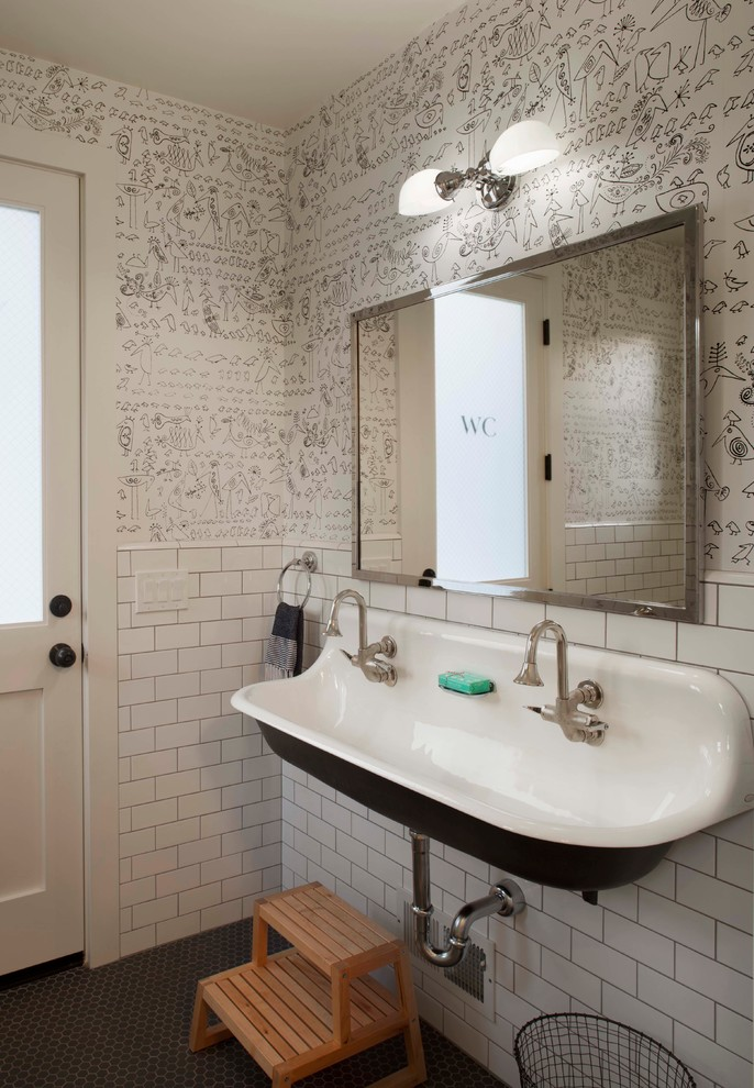 Bathroom - country kids' white tile and subway tile bathroom idea in San Francisco with a trough sink and multicolored walls