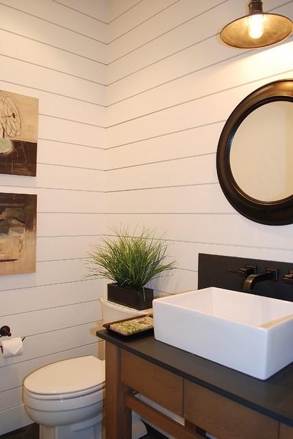 Modern Farmhouse Powder Bath - Farmhouse bathroom light fixtures for bathroom decor ideas