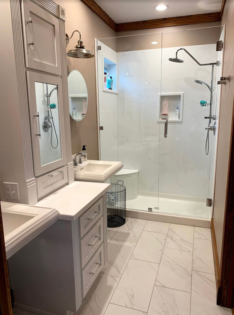 Bathroom - mid-sized modern master bathroom idea in Other with raised-panel cabinets, white cabinets, a hinged shower door and white countertops