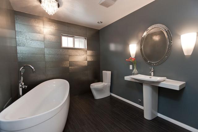 Gray White Tile Modern Bathroom Remodel: Modern Gray Bathroom Remodel