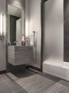 Modern Gray Mosaic Tile Bathroom Contemporary