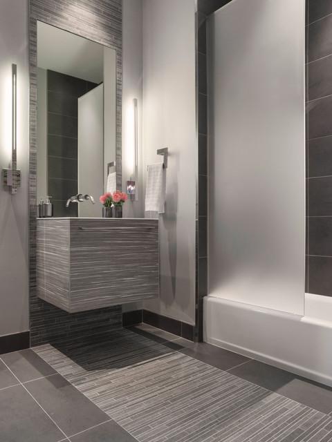 Modern Gray Mosaic Tile Bathroom