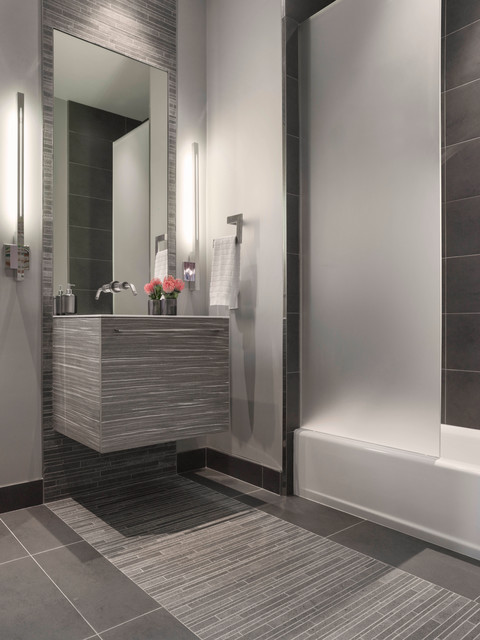 Modern gray mosaic tile bathroom contemporary bathroom for Contemporary bathroom tile designs