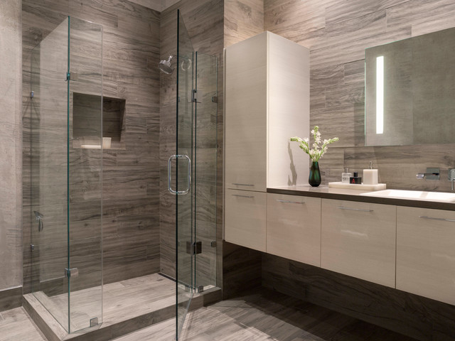 Modern Gray White Bathroom Contemporary Bathroom San Francisco