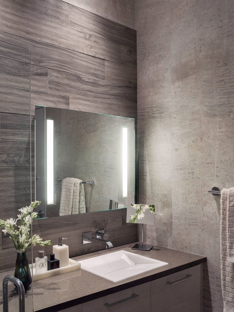 Modern Gray + White Master Bathroom - Contemporary ...