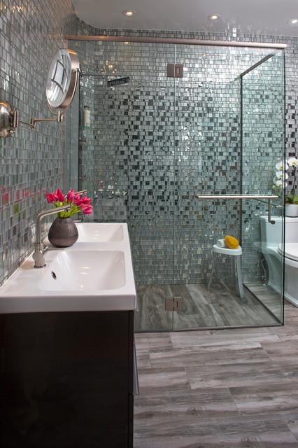 Grey Bathroom With Gl Mosaic Shower