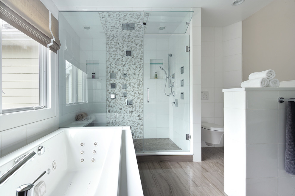 Alcove shower - contemporary alcove shower idea in New York with a console sink