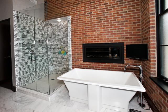 Modern industrial loft master bath industrial bathroom for Modern industrial bathroom