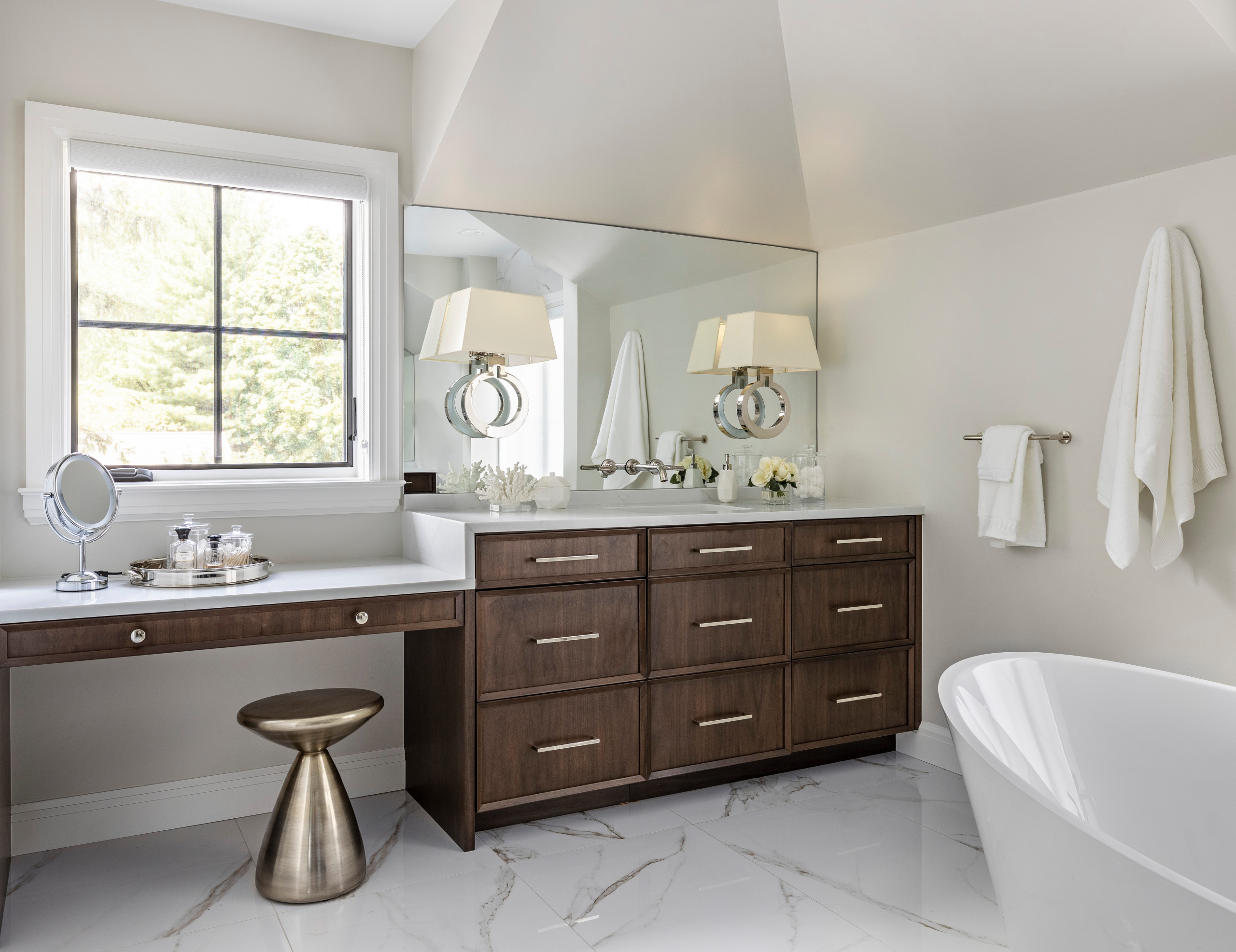 Example of a large minimalist master white tile and porcelain tile porcelain tile, white floor and double-sink bathroom design in Detroit with recessed-panel cabinets, dark wood cabinets, a one-piece