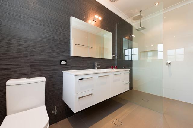 Doorless shower - mid-sized modern master doorless shower idea in Adelaide with an undermount & Modern Luxury Bathroom - Modern - Bathroom - Adelaide - by Brilliant SA