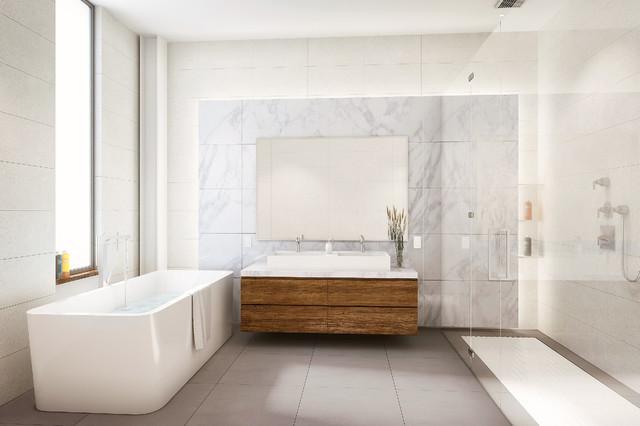 Modern Luxury Condo Master Bath Secondary Brooklyn