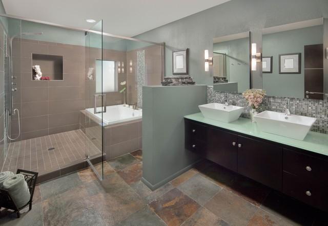 Delightful Bathroom   Large Contemporary Master Beige Tile, Gray Tile, White Tile And  Mosaic Tile