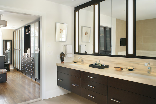 modern master bath and dressing room contemporary