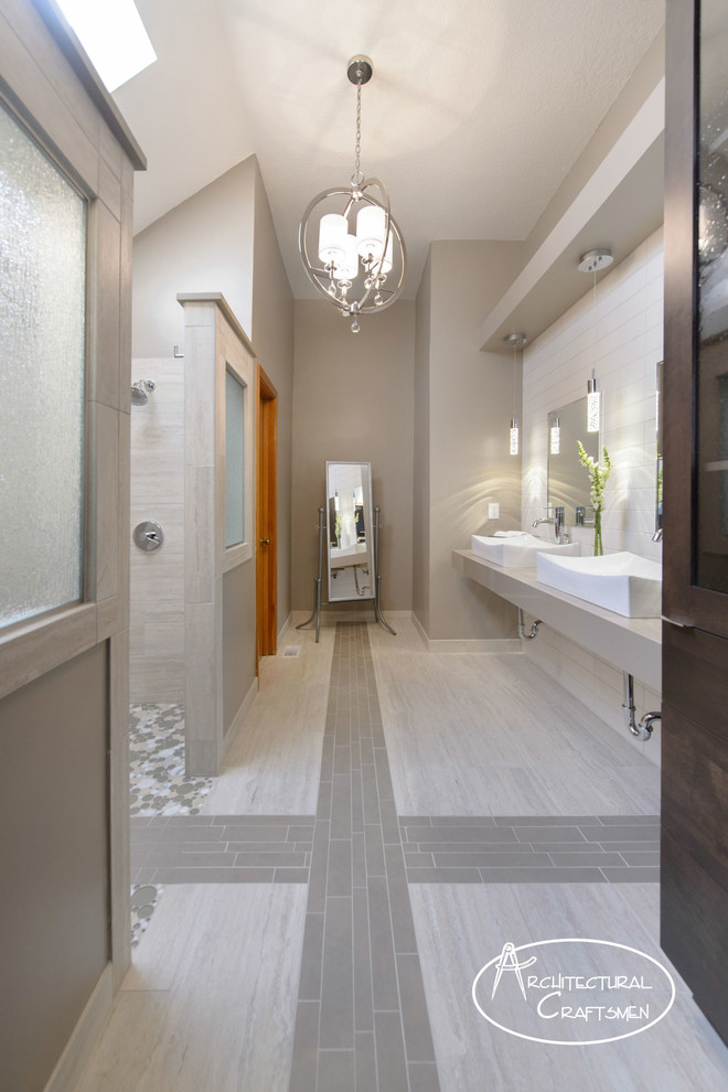 Minimalist master gray tile and porcelain tile porcelain floor doorless shower photo in Kansas City with a wall-mount sink, quartz countertops and green walls