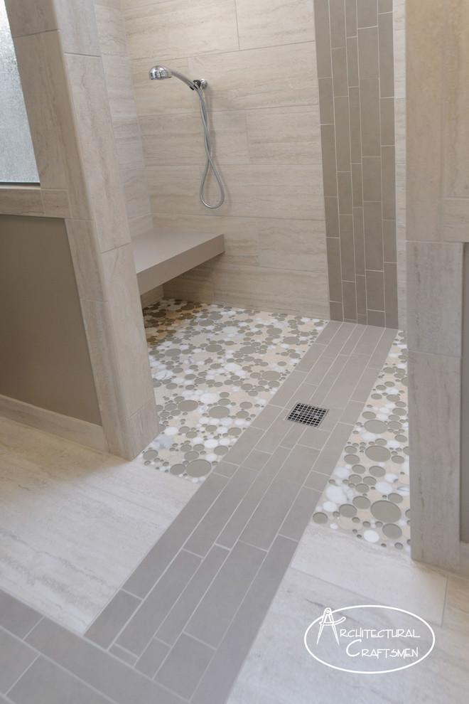 Doorless shower - modern master gray tile and porcelain tile porcelain tile doorless shower idea in Kansas City with a wall-mount sink, quartz countertops and green walls