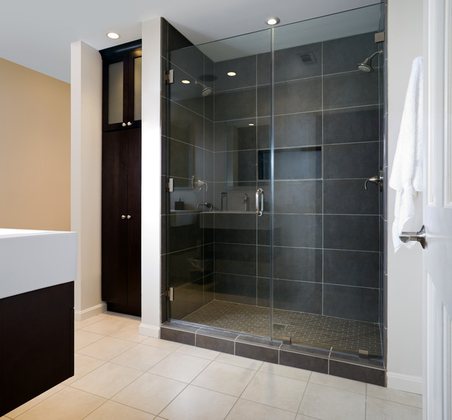 Modern master bath shower contemporary bathroom for Modern bathroom tile designs