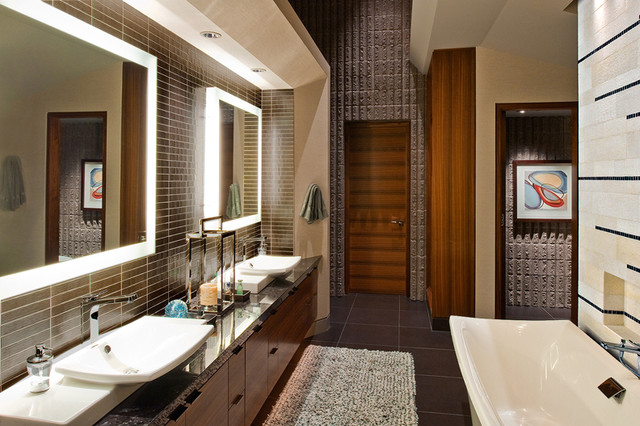 Modern master bath contemporary bathroom phoenix for Master bathroom modern