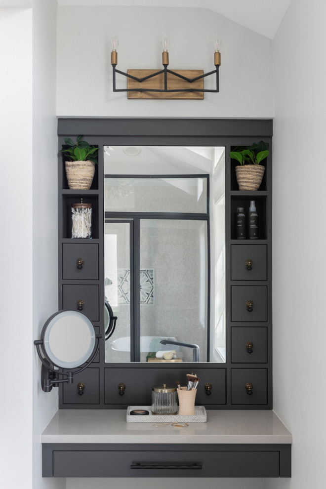Bathroom - large modern master gray floor, double-sink and vaulted ceiling bathroom idea in Minneapolis with light wood cabinets, beige walls, a trough sink, a hinged shower door, beige countertops and a built-in vanity