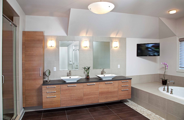 Modern master bathroom spa design contemporary bathroom newark by kuche cucina for Photos of contemporary bathrooms