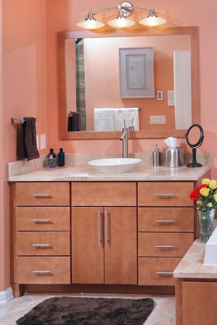 Modern master bathroom with custom Amish maple doors contemporary-bathroom