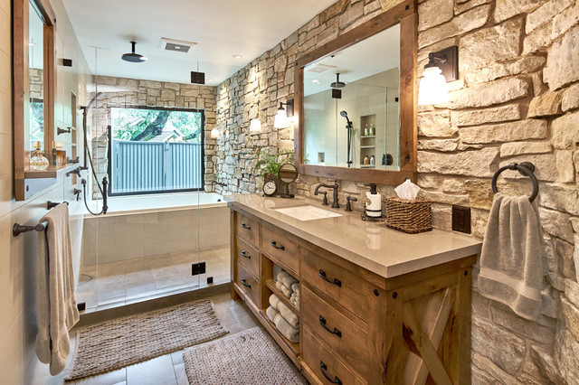 modern master retreat with old world flair rustic bathroom - Rustic Bathroom