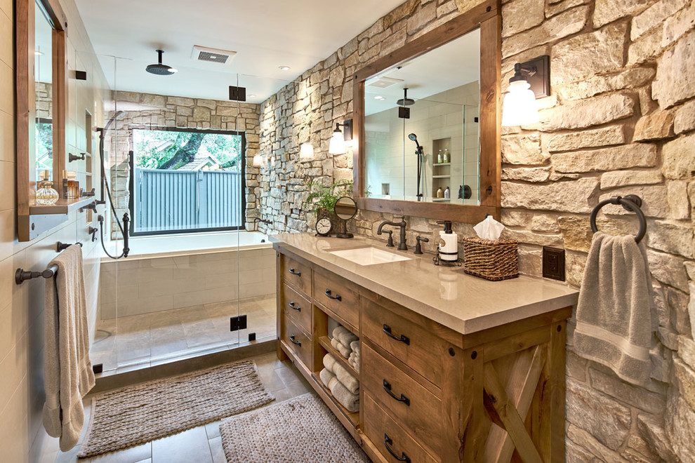 Bathroom - rustic bathroom idea in San Francisco with a hinged shower door