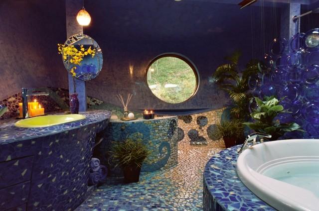 modern mediterranean mosaic bathroom mediterranean-bathroom