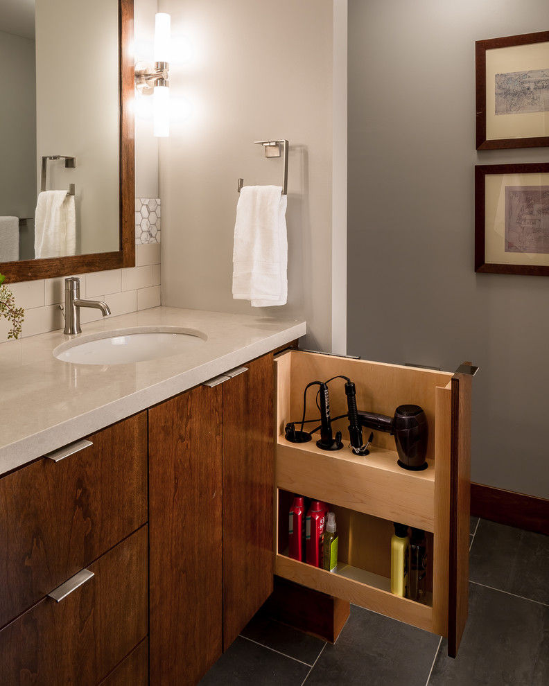 Bathroom - mid-sized contemporary master porcelain tile and beige tile porcelain floor bathroom idea in Minneapolis with flat-panel cabinets, medium tone wood cabinets, engineered quartz countertops, an undermount sink and gray walls