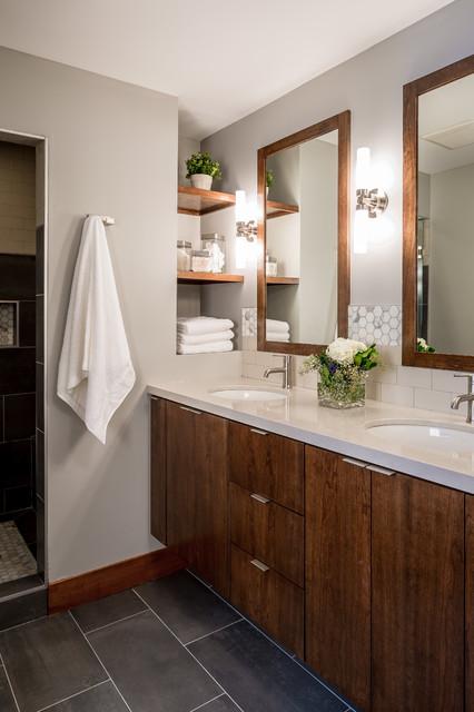 Modern minneapolis ranch contemporary bathroom for Modern ranch bathroom