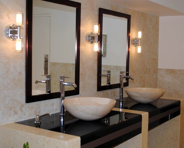 Innovative They Also Designed The Brass Bathroom Mirrors With Ball Lights In The Powder