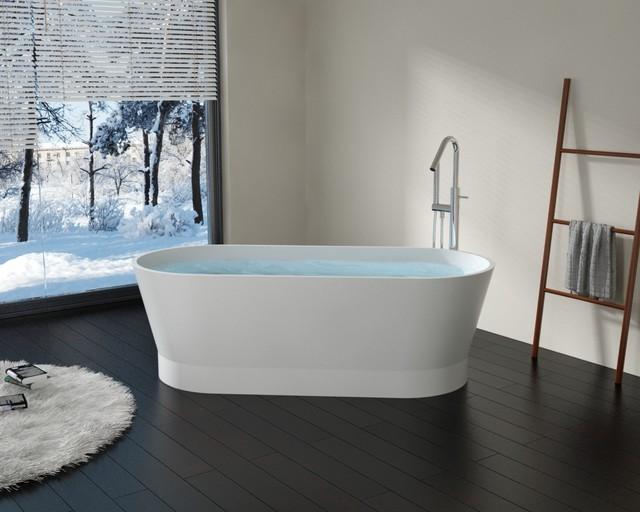 Modern Oval Shaped Stone Resin Freestanding Bathtub - BW-08 - Matte or Glossy modern-bathtubs
