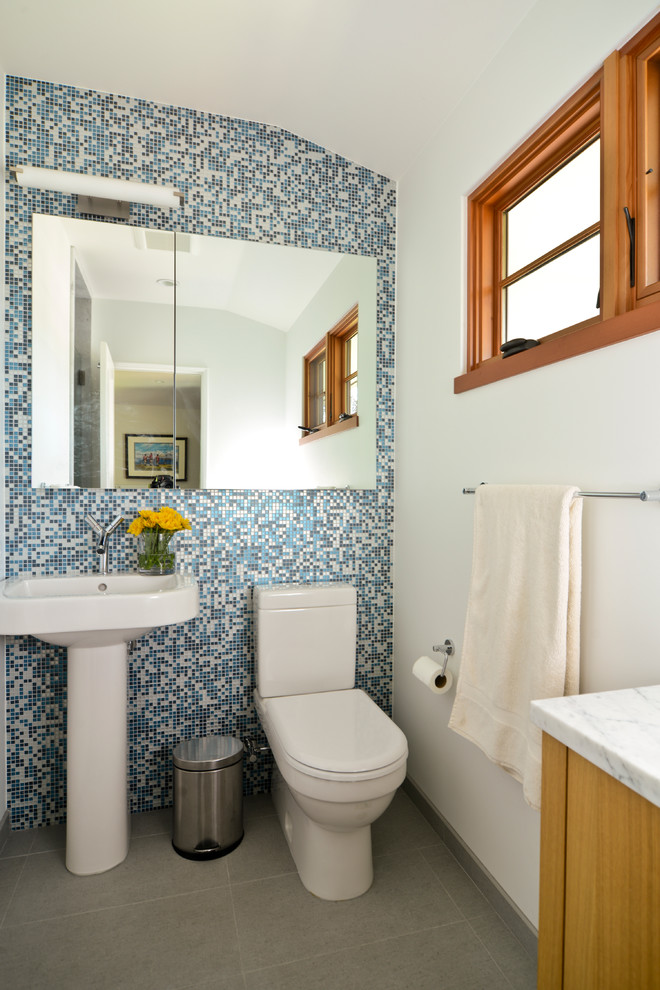 Inspiration for a contemporary bathroom remodel in San Francisco with a pedestal sink