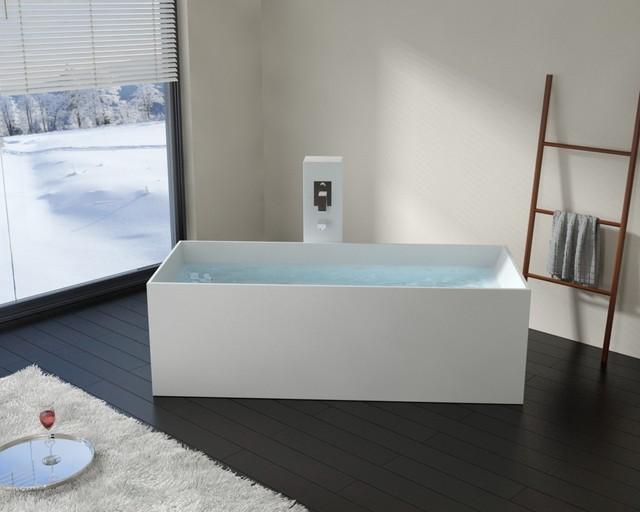 Modern rectangle stone resin body forming freestanding for Freestanding stone resin bathtubs