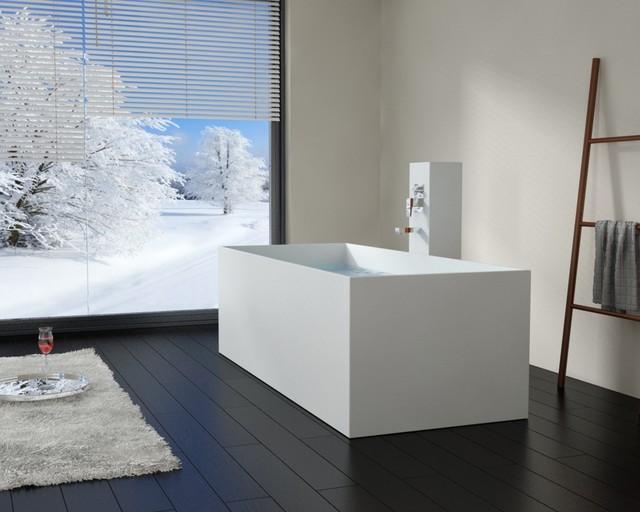 Modern Rectangle Stone Resin Body Forming Freestanding Bathtub - BW ...