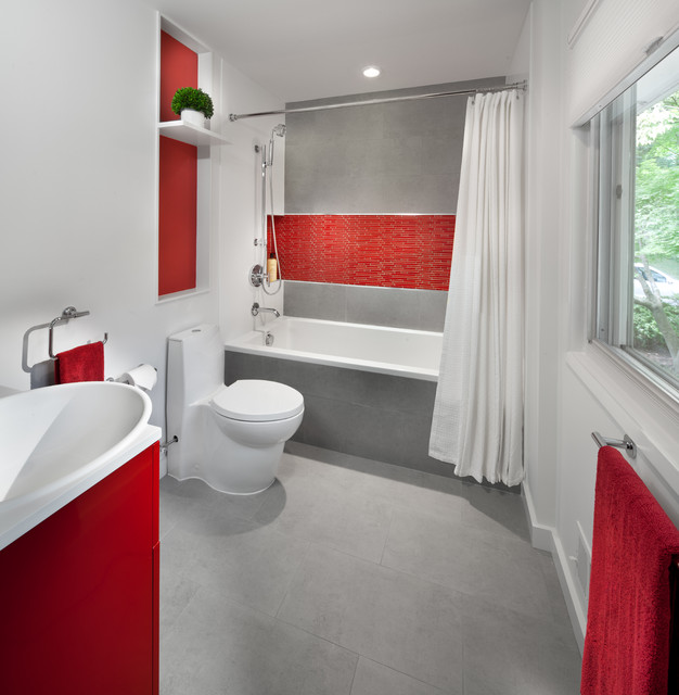 Modern Red Kitchen Contemporary Bathroom Dc Metro By Anthony Wilder Design Build Inc