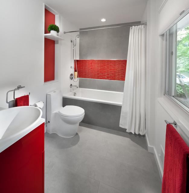 Modern Red Kitchen Contemporary Bathroom Dc Metro