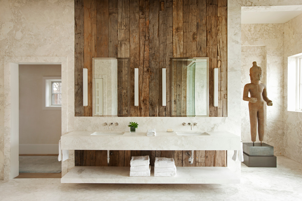 Example of a large mountain style master beige tile and marble tile marble floor bathroom design in Denver with an undermount sink, open cabinets, marble countertops and beige walls