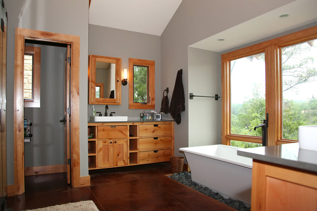 Modern traditional living room before and after - Modern Rustic Master Bath