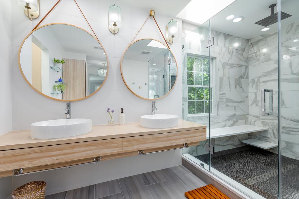 Bathroom - large contemporary bathroom idea in DC Metro