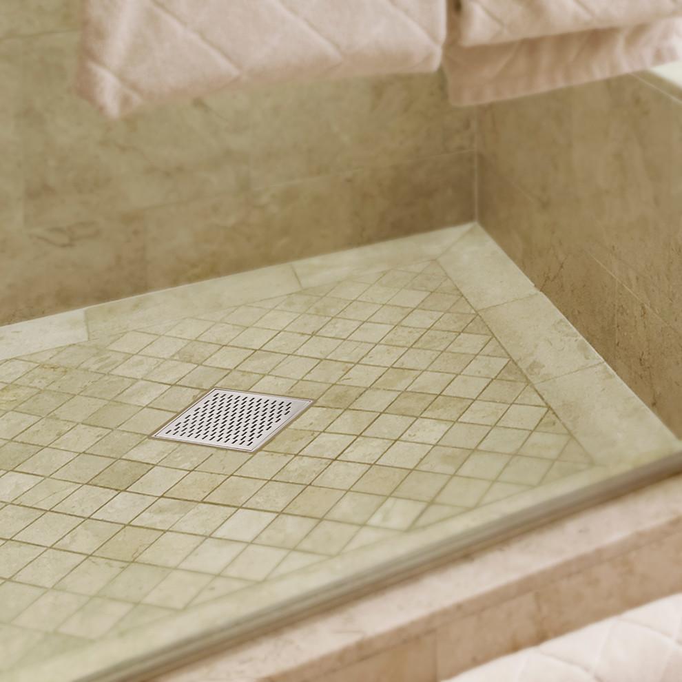 Example of a minimalist corner shower design in Miami
