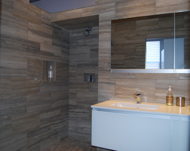 Modern Shower With Dual Shower Heads And Silver Travertine Stone Modern Bathroom Boston