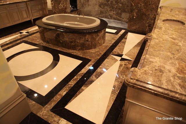 Modern Slab Bathroom Floor With Design Slab Shower