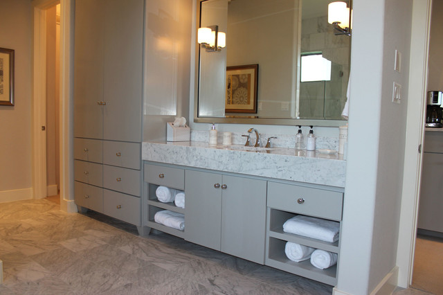 Example Of A Large Minimalist Master Gray Tile And Stone Tile Marble Floor  Doorless Shower Design