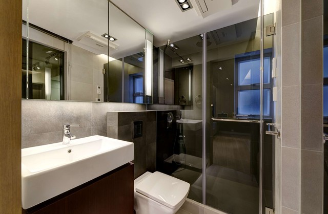 Modern Small Warm Apartment Contemporary Bathroom