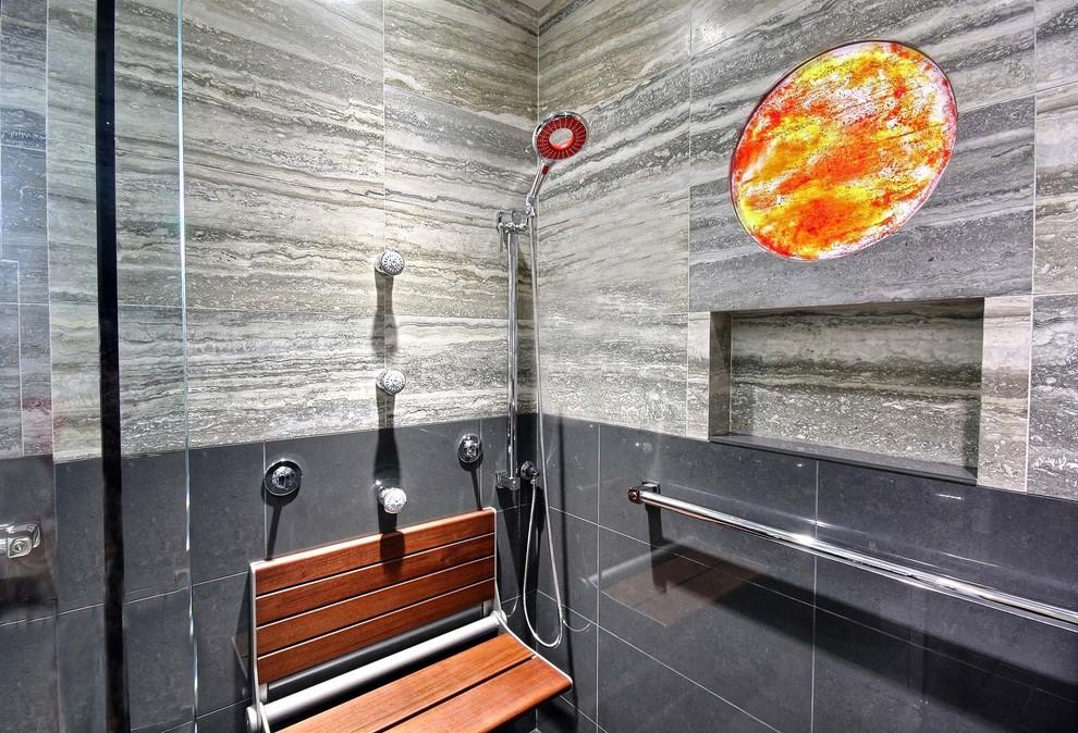 Inspiration for a modern porcelain tile bathroom remodel in Hawaii