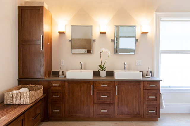 Inspiration For A Contemporary Bathroom Remodel In Boston With A Vessel  Sink And Dark Wood Cabinets