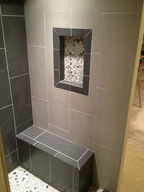 Modern steam shower contemporary bathroom detroit for 12x24 bathroom tile ideas